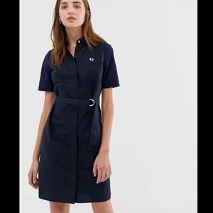Fred Perry Belted Shirt Dress Navy Size 8